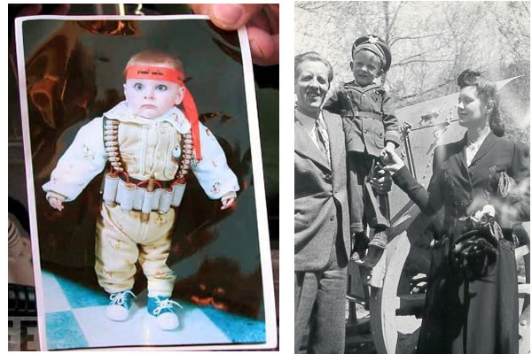a Palestinian child and my father as children each dressed as soldiers